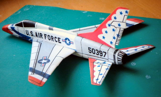 Super Sabre for L-2.  Note '3D' fuselage'.  Printed paper over balsa construction.